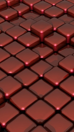 3D red glass on box floor