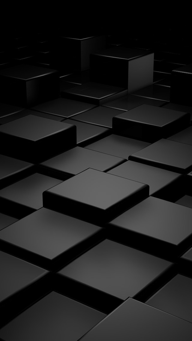 Black 3d blocks the iphone wallpapers for Black wallpaper iphone