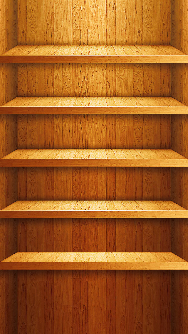 Iphone 5 shelf the iphone wallpapers for Wooden wallpaper for home