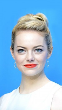 Emma Stone Blue Background
