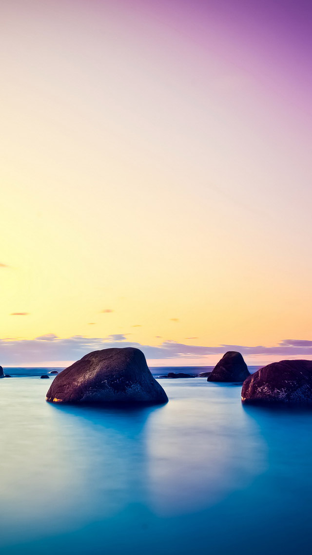 The Iphone Wallpapers Golden Sunshine Seaside Stone