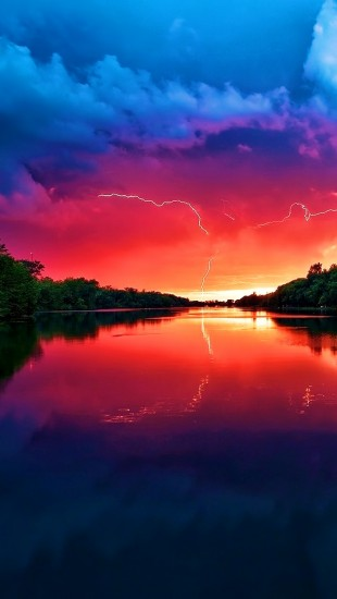 Lightning Sunset River