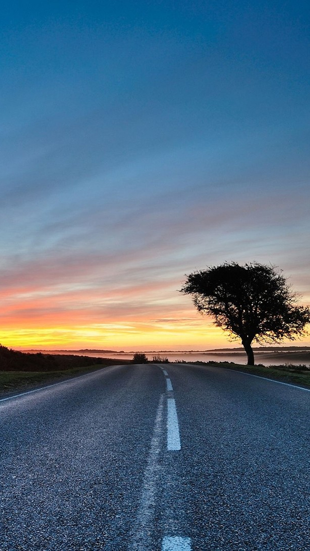 Road Sunset Wallpaper Sunset Road - The iPho...