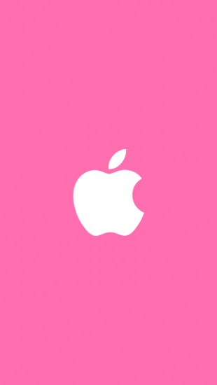 White Apple Pink Background