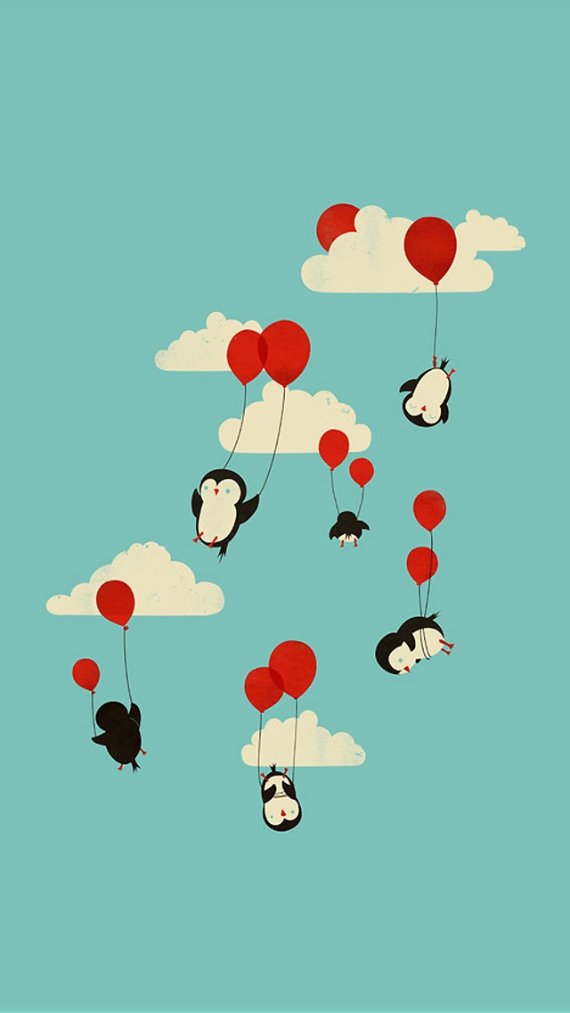 Love Balloon With cartoon Wallpaper : Flying Penguins - The iPhone Wallpapers
