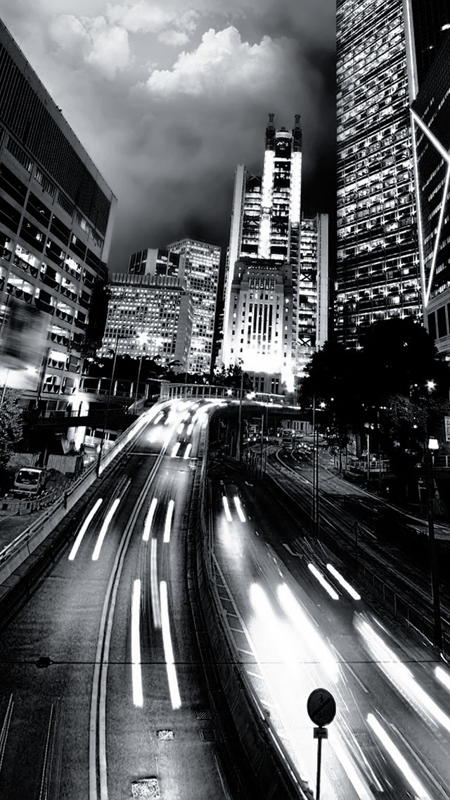 The Iphone Wallpapers Black And White City Traffic