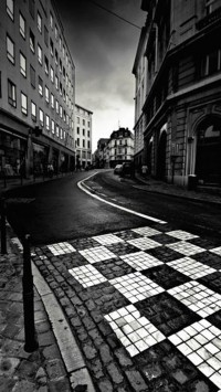 Black White City Street
