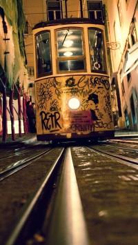City Tram Rails Night