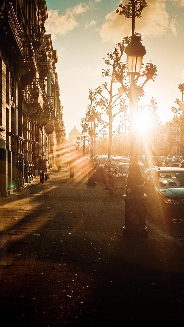 IPhone Wallpaper Tags CityDistrictSidewalkStreetSunsetTown Street Of Sunset