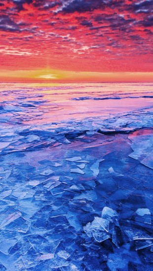 Sunset And Shattered Ice