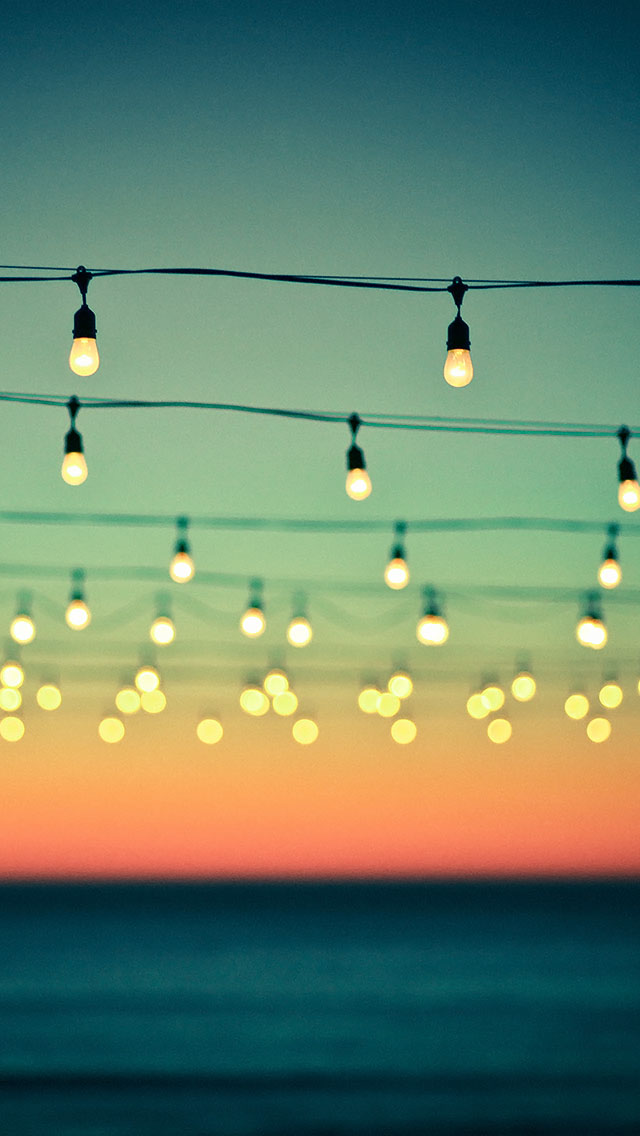 Hanging Lights Bokeh Sunset The Iphone Wallpapers