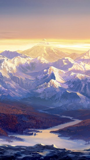 Paintings Snow Mountains