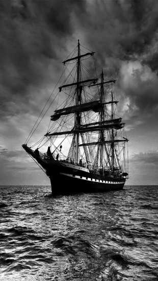 Sailing ship black and white