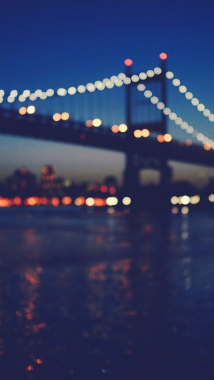 New York City Manhattan Bridge Night Light Bokeh