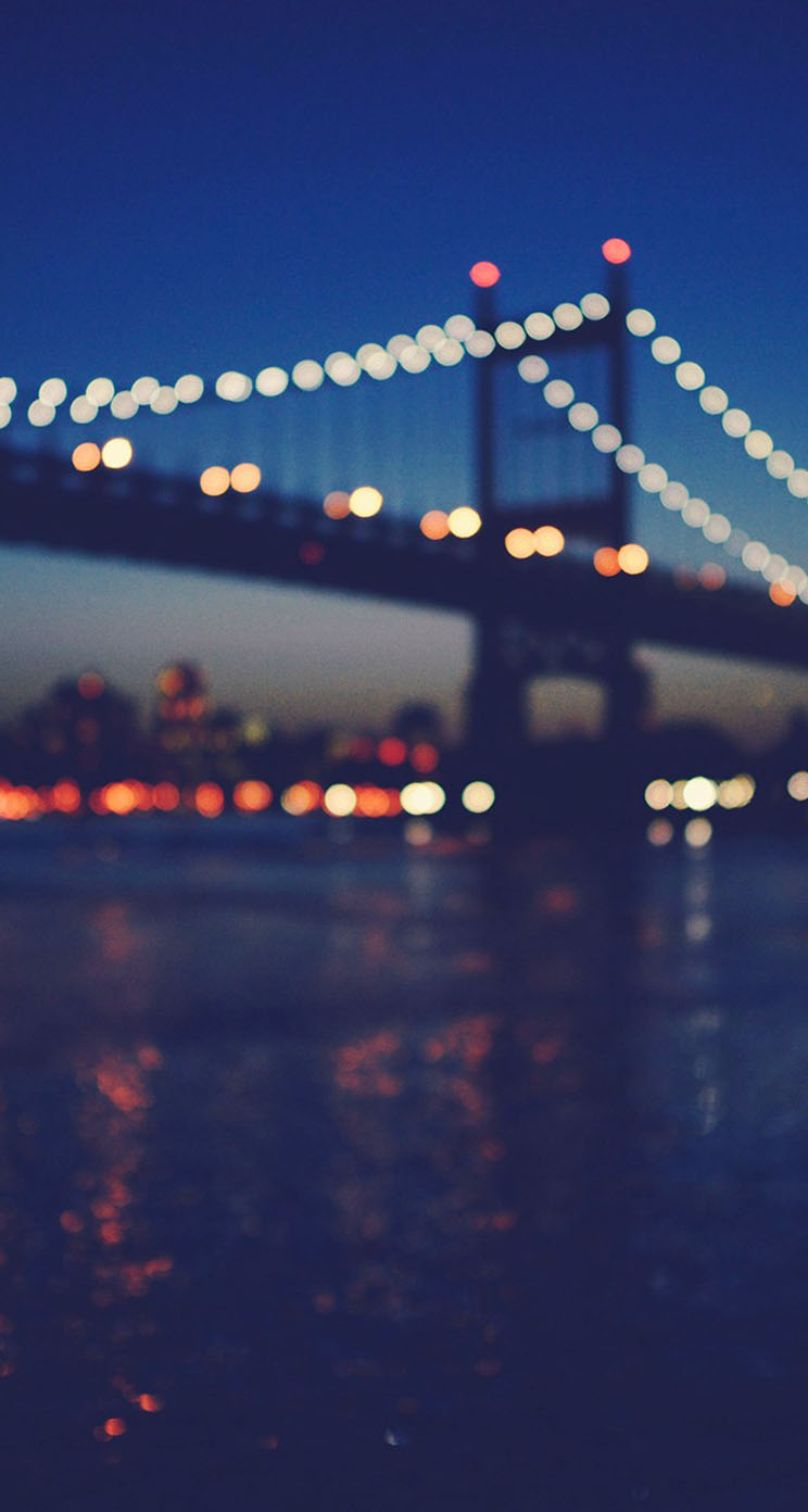 The Iphone Wallpapers New York City Manhattan Bridge Night Light Bokeh