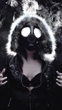 Woman Masked Gas Mask