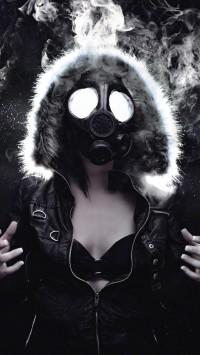 Woman Masked Gas Mask
