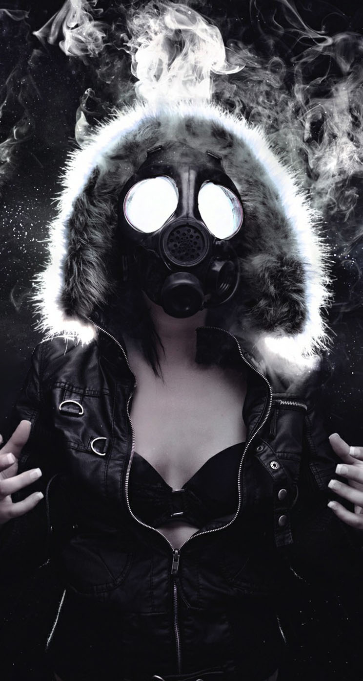 Woman Masked Gas Mask - The iPhone Wallpapers
