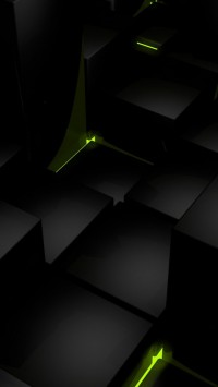 3D Black Cubes and Green Lights