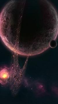 Purple nebula planetary asteroid