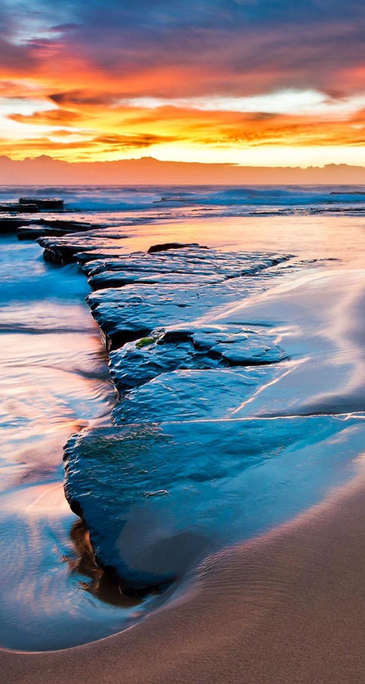Sunset Water Sea Beach Evening Clouds Ocean