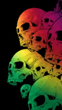 Skulls Colorful Black Background