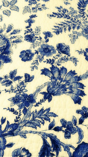 Vintage Blue Drawings Fabric