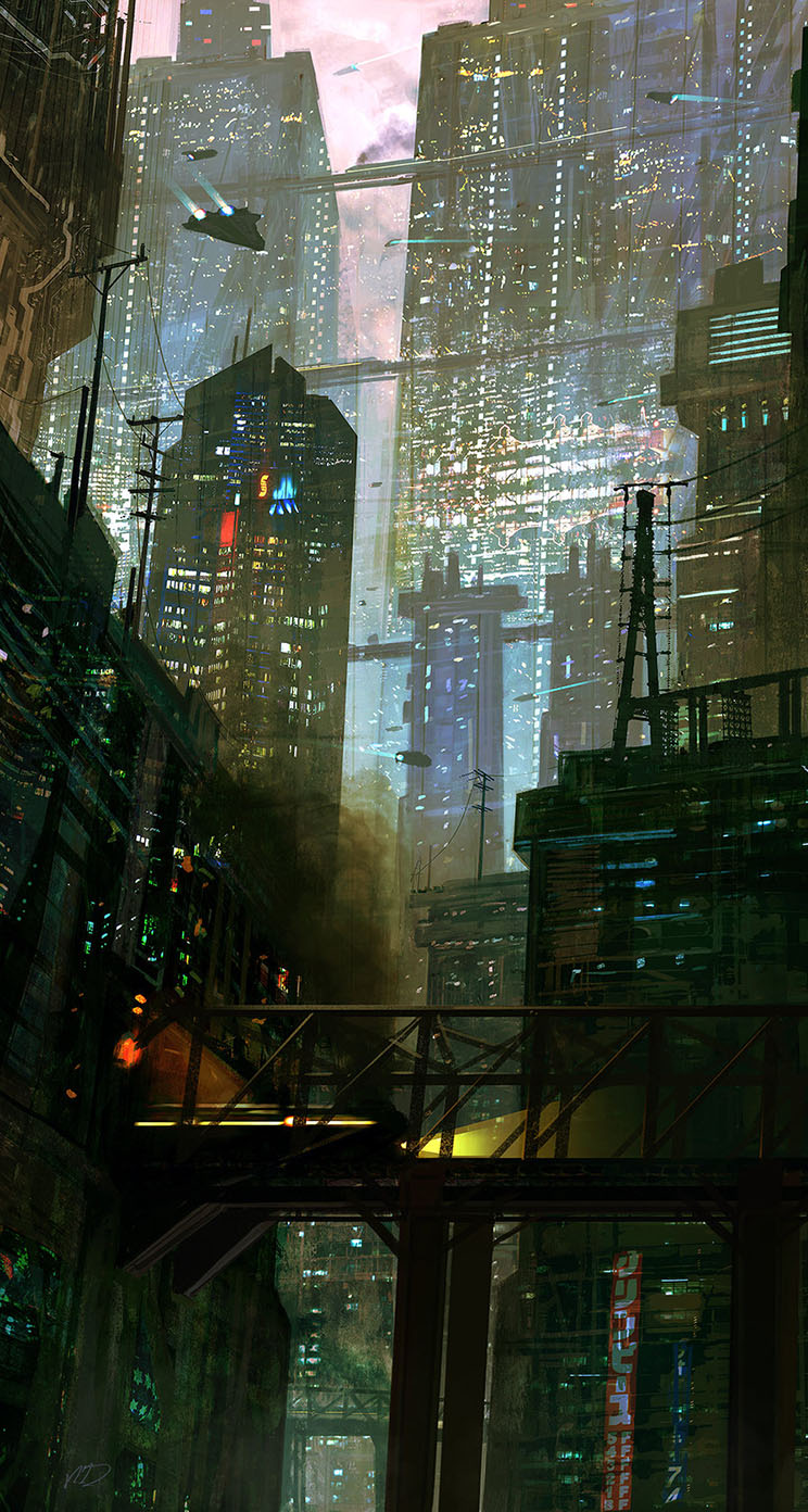 Sci fi city scene the iphone wallpapers for Sci fi decor