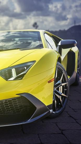 Yellow Lamborghini Aventador Supercar