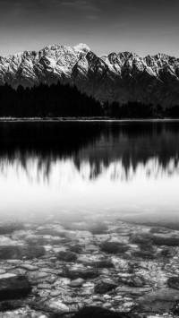 Black And White Snow Mountain Lake