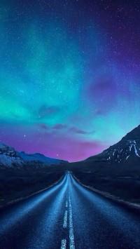 aurora borealis a road