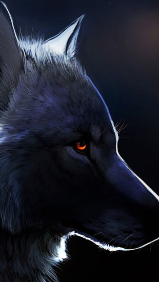 Red Eyed Black Wolf