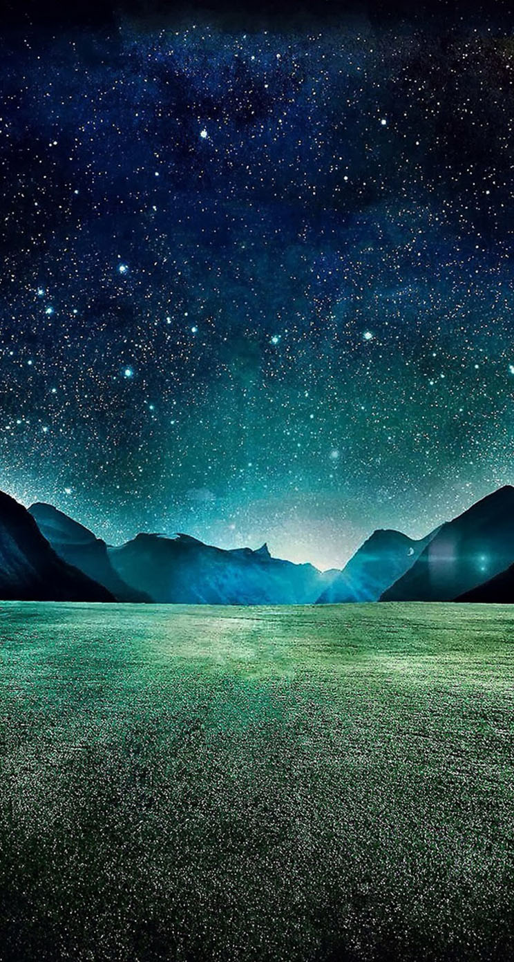 Starry Night Grass Field Mountains The Iphone Wallpapers