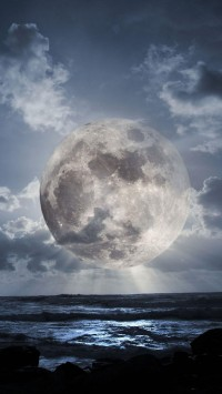 Super Moon Over Sea
