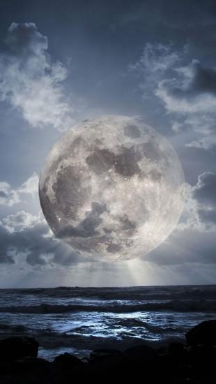 Super Moon Over Sea
