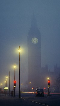 London Foggy Night Big Ben