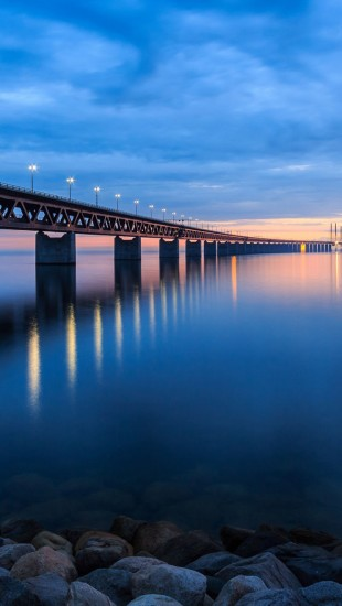 Sweden bridge night