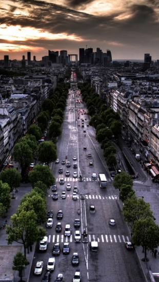Paris Aerial View From Triumphal Arch In Louvre Direction