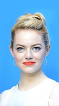Emma Stone Blue Background