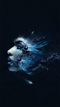 Blue Abstract Girl Face