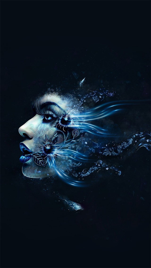 Blue Abstract Girl Face - The iPhone Wallpapers