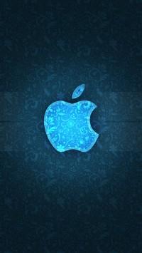 Blue Texture Apple Logo