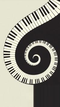 Black and White Rotating Piano