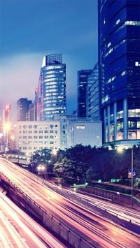 Hong Kong Night View Streets Skyscraper