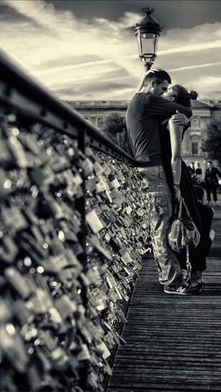 Lovers Kissing In Paris