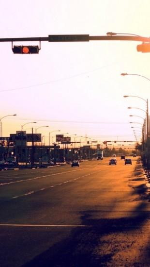 Sunset Street Traffic Light Car