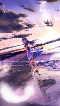 Anime girl barefoot on the beach