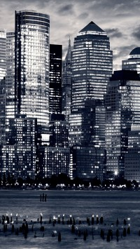 New York City midtown skyline Hudson river