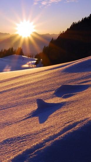 Sun mountains snow sunset