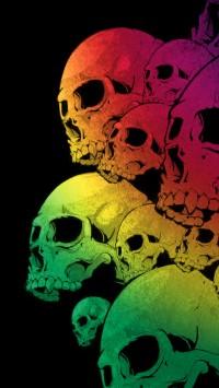 Skulls Colorful Black Background